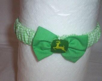 Handmade John Deere Baby Headband Green And White Checked 2