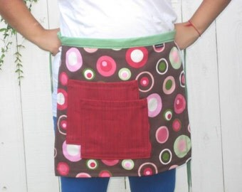 Pink, brown, green polka dotted half apron, two large pockets, heavy cotton, men or women.