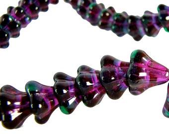 Czech  Glass Beads, 11 X 13mm, Violet  Bell Flower , Qty: 10