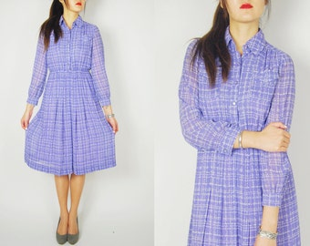 1960s Japanese Vintage Chiffon Purple Dress. Sz S-M Pleated