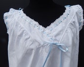 Vintage French Chemise Nightgown Very Fine Linen with Exceptional Hand Embroidery Ribbons