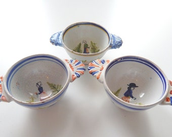 Antique French Quimper Bowls Group of 3 from late 1800s Hand Painted Faience