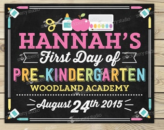 First Day of Pre K Sign Printable - Girl 1st Day of Pre Kindergarten Sign - 1st Day of School Chalkboard - Back to School Personalized Sign