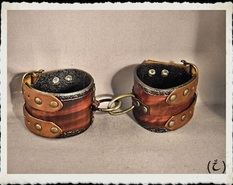 Brown leather hand cuffs bracelets