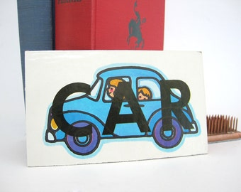 Vintage CAR Picture Word BUT Tile Flash Cards Craft Altered Art Supply Childrens Shelf Decor Home School