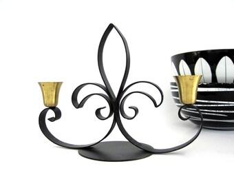 Vintage Danish Metal Candle Holder Black Iron Brass Candleholder Small Fleur De Lis  Candelabra Svend Aage Holm Sorensen