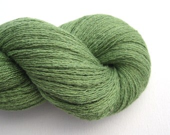 Lace Weight Silk Cashmere Recycled Yarn, Asparagus Green, Lot 140815