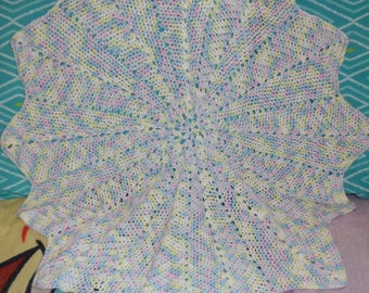 CLEARANCE crochet baby ripple afghan, baby shower gift, photo prop, carseat afghan, stroller afghan