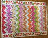 Bright Colourful Cot Quilt or Lap Quilt
