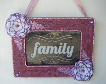 FAMILY Sign Antiqued Mirror in Purple Shabby Chic Frame Flower Handmade Cottage French Country Gathering Inspiration