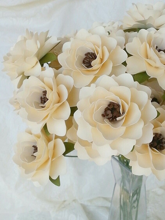Paper Flowers - Wedding Flowers - Table Decor - Centerpieces - Custom Color - Made To Order - Wide Variety Of Colors - Set of 24