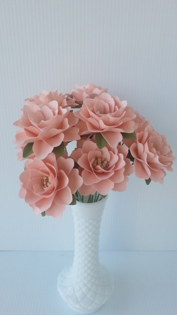 Paper Flowers - Wedding Flowers - Table Decor - Centerpieces - Blush Pink - Custom Color - Made To Order - Set of 12