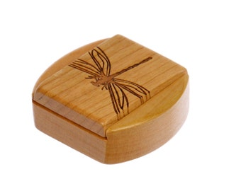 "Dragonfly Sliding Lid Storage Box, 1-3/4""L x 1-7/8""W x 7/8""D, Solid Cherry, Mini Box Pattern 15, Paul Szewc, Dragonfly Pattern"