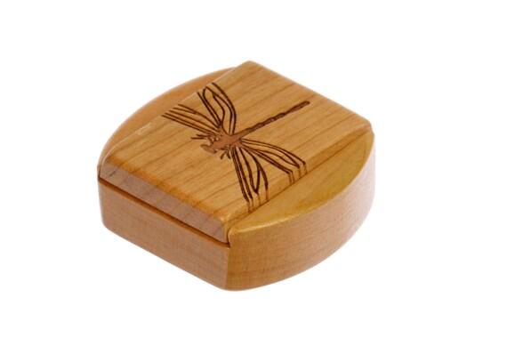 """Dragonfly Sliding Lid Storage Box, 1-3/4""""L x 1-7/8""""W x 7/8""""D, Solid Cherry, Mini Box Pattern 15, Paul Szewc, Dragonfly Pattern"""