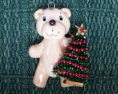 Polar bear with Christmas tree ornament handmade bread dough