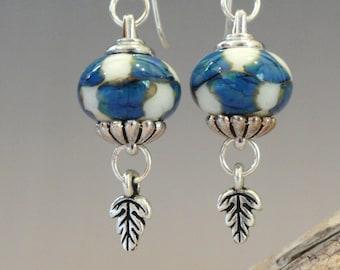 Lampwork Earrings, Flamework, Blue Earrings, Leaf Charms, TierraCast, Dangle Earrings, Emerald City Glass, Marcie Page, Blue and White