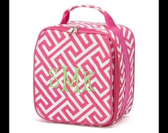 Pink Greek Key Lunch Box