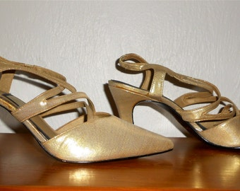 Vintage 1990s Deadstock NINA gold lame pointy-toed strappy high heels, size 8.5 / 9 narrow