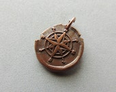 SALE Wax Seal Stamp, Handmade Copper Charm, Large Compass Charm, Handmade Copper, Wax Seal Compass, Artisan Jewelry, Artisan Handmade