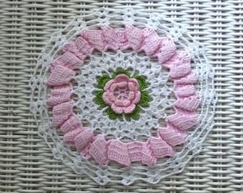 Vintage Hand Crochet Pink Rose Floral Garden Lace Doily