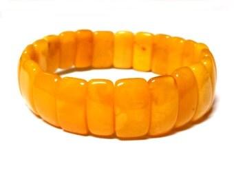 """Baltic Amber Antique Butterscotch Bracelet Yolk Beaded 7.5"""" 13 gram"""