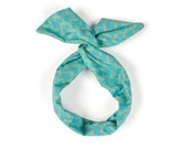 Twist Hair Scarf - Screenprinted Wire Headband - Gold Mountains on Teal