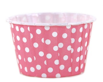 Pink (dark) and White polka dot baking cups (24)  nut, candy, icream. treat, portion, cupcake cups