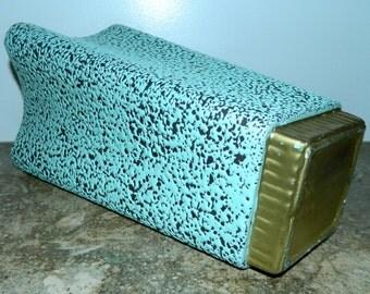 vintage 1950s Shawnee Chantilly vase 1819 aqua turquoise black ATOMIC gold base ceramic