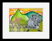 Field Mouse, Original Watercolor with Linocut Collage