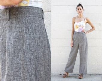 70s - 80s Grey Heather Melange High Waisted Trousers