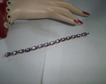 10kt Gold,  Bracelet, Genuine Amethyst Bracelet, with large Honeycomb facated, bracelet