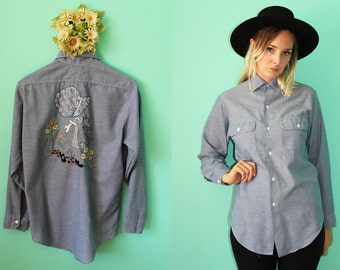 Vintage VTG VG 1970's 70's Women's Embroidered Button Up Chambray Denim Country Western Long Sleeved Top Big Mac by JCPenney MW Medium
