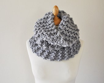 Silver Grey Cowl - Grey Cowl Scarf - Chunky Knitted Cowl - Women's Knitwear