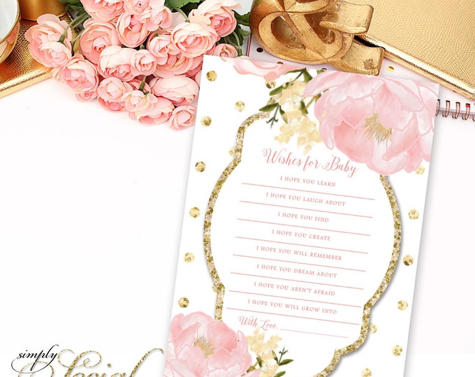 INSTANT DOWNLOAD Romantic Garden Peony Flowers Blush Pink and Gold Polka Dots Baby Shower Wishes for Baby Printable