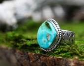 Men's Turquoise Ring Size 12. Bear Totem Ring. Natural Turquoise Jewelry.