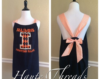 Illinois Fighting Illini Custom One-Of-A-Kind Gameday Spirit Bow Back Tank Top Shirt - Upcycled - size Large