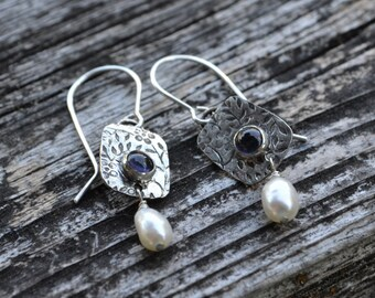 Sterling Silver with Iolite and a Pearl Earrings