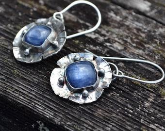Sterling Silver and Kyanite Flower Earrings