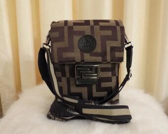 Vintage Posida Brown Patterned Canvas CrossBody Shoulder Bag