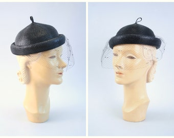 vintage 1950s veiled woven hat - black straw pixie topper / Junior Seasons - New York / 1950s ladies net hat - 50s netted veil hat