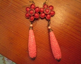 Awesome:  Long Handmade Floral CARVED CORAL Glass, Coral ENAMEL & Brass Filigree Vintage Dangle/Drop Pierced Earrings