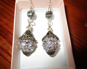 Sparkling SILVER RHODIUM-plated, Inlaid RHINESTONE Balls w/Antique Brass Filigree Caps Dangle/Drop Pierced Vintage Earrings - Bridal Quality