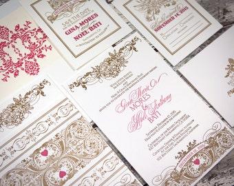 Victoriana Flora Letterpress Wedding Suite LPVIC-02