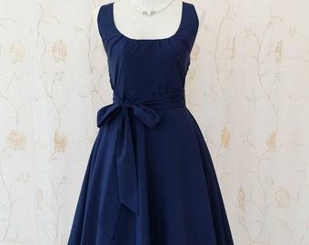 My Lady - Navy Sundress Vintage Design Navy Dress Prom Party Dress Navy Bridesmaid Dress Vintage Tea Dress Navy Party Sundress XS-XL