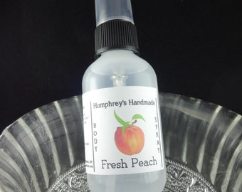 FRESH PEACH Body Spray, All Natural Perfume Room and Linen Spray 2 oz, Witch Hazel Women's Fragrance Oil, Ripe Peaches Fresh Fruit