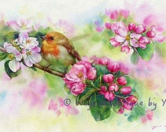 PRINT - Little bird watercolor painting 7.3 x 11""