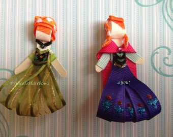 "Anna from Frozen"" Princess Hair Clips Set of 2 - Inspired by Disney- Birthdays, Party favor"
