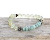 Prehnite and Amazonite Gemstone Stretch Bracelet - Trust Your Journey Bracelet