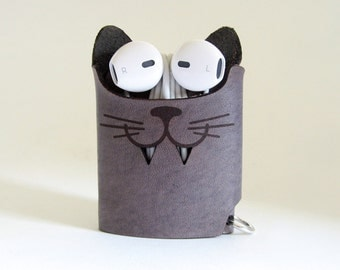 Smiling Cat Earphone Case - Ash Gray - The Case with a Face - Leather Earphone Case / Earpod Case / Earphone Wrap / Earbud Organizer