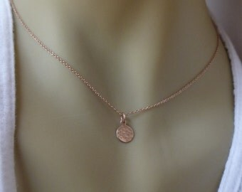 Dainty Rose Gold Initial Necklace - Initial Necklace - Tiny Rose Gold Filled Disc - 7mm - Mother's Necklace - Grandmother's necklace